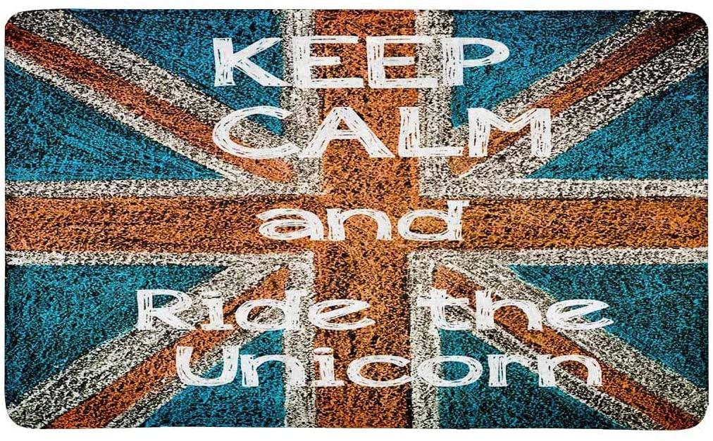 INTERESTPRINT United Kingdom British Union Jack Flag Indoor Entrance Rug Floor Mats Shoe Scraper Doormat 30 X 18 Inches