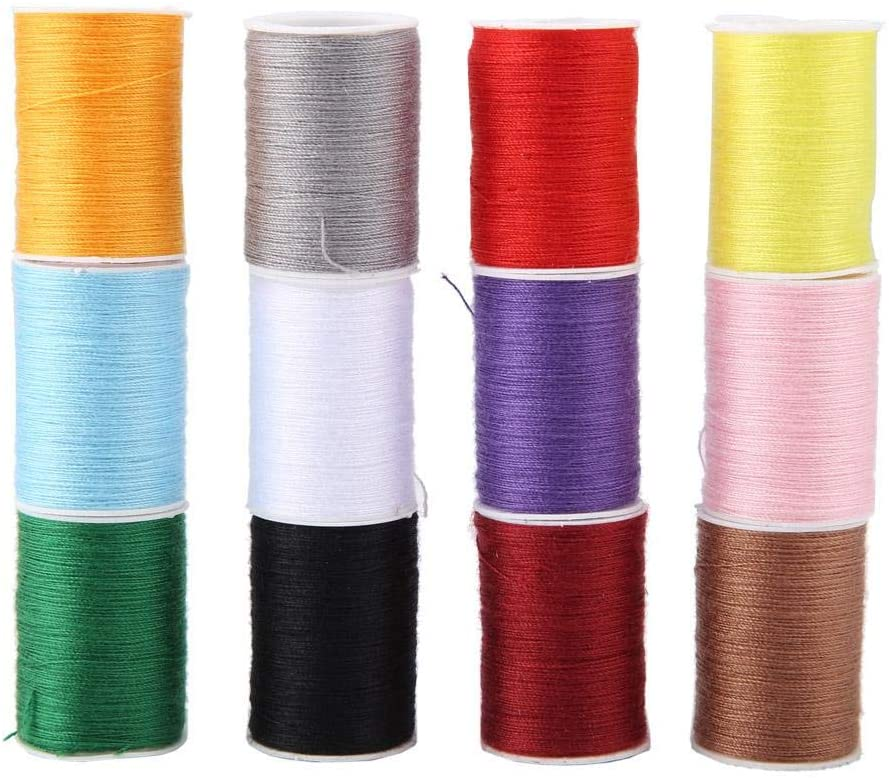 12 Colors Sewing Thread Polyester Thread Sewing Kit for Quilting, Dress Making, General Stitching Machines and Handmade Project 20m / 65.6ft