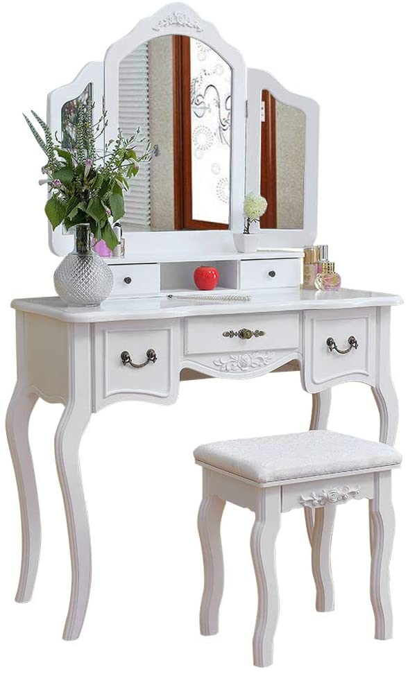 CHENJIE MDF Vanity Benches Bedroom Tri-fold Mirror Vanities Dressing Table with Dressing Stool (White)