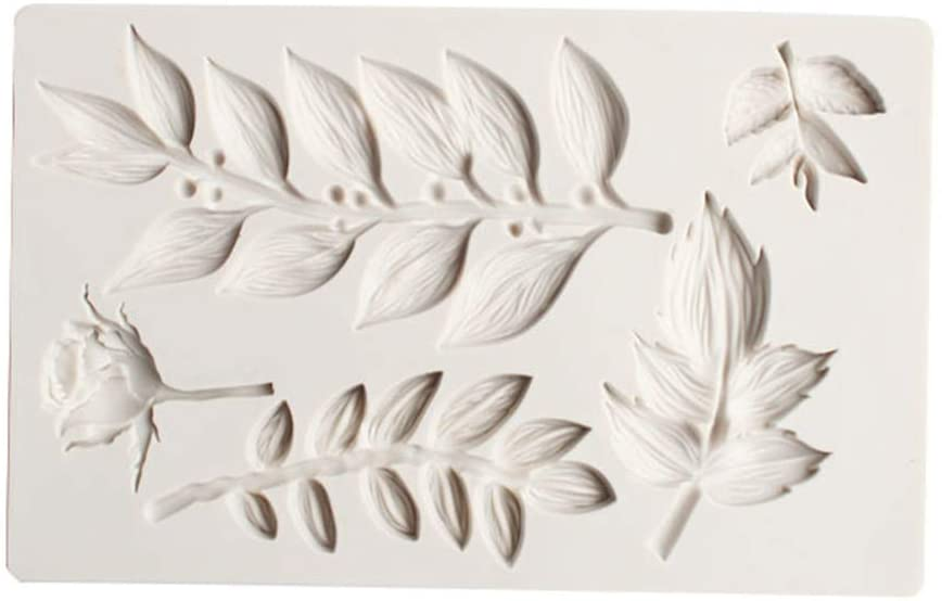 minansostey DIY Leaf Fondant Mold Rose Leaves Flower Sugar Cake Decoration Tool Chocolate Silicone Mold