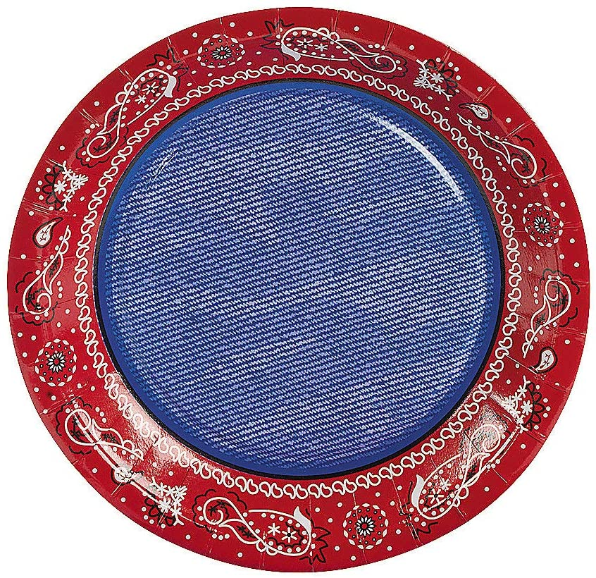 Fun Express - Red Bandana Dessert Plates - Party Supplies - Print Tableware - Print Plates & Bowls - 8 Pieces
