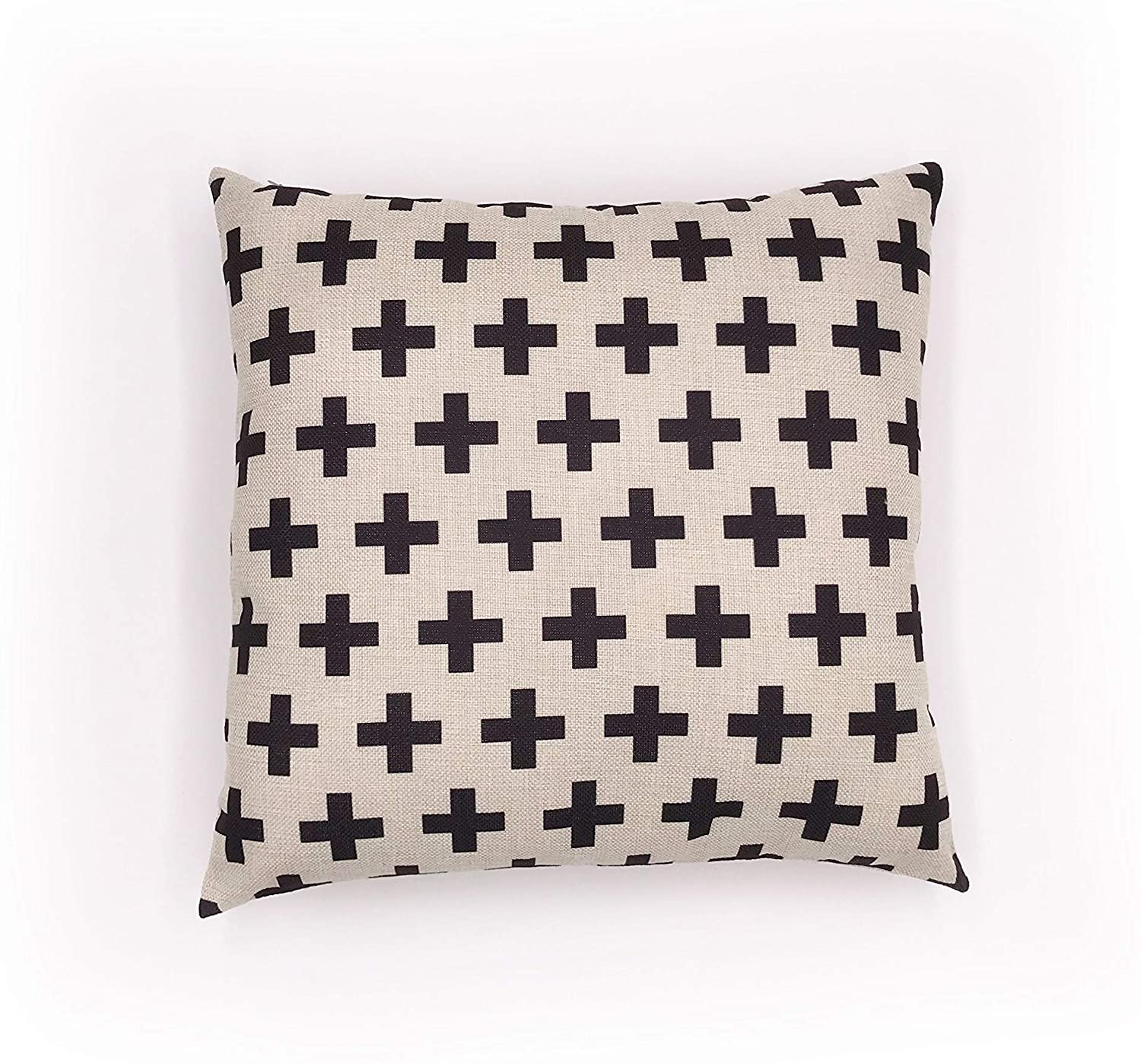 Swiss Cross Pillow Cover - Linen Throw Cushion Covers Home Decorative for Sofa - 18 x 18 Inch - Cross in Cream White