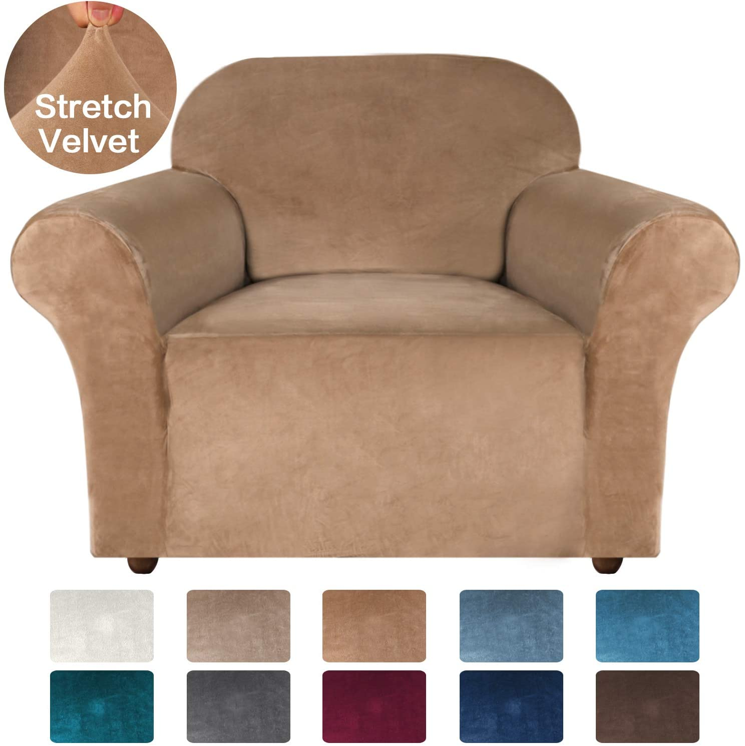 Turquoize Stretch Chair Sofa Slipcover Velvet Chair Cover Plush Couch Sofa Cover Furniture Protector Chair Couch Cover Soft with Elastic Bottom Spandex Slipcovers for Chair Protector (Chair, Camel)