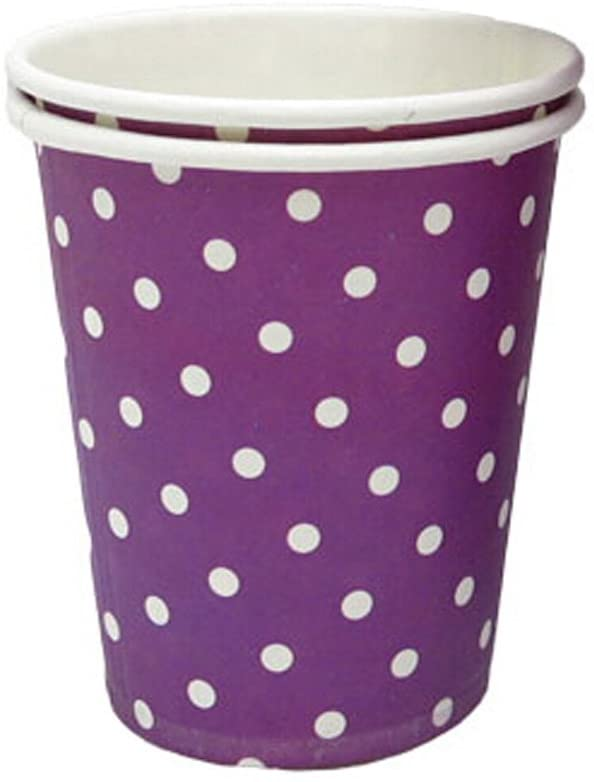 Kylin Express 8.25 oz Coffee Paper Cup Disposable Paper Cup 50 Count White Dots, Purple