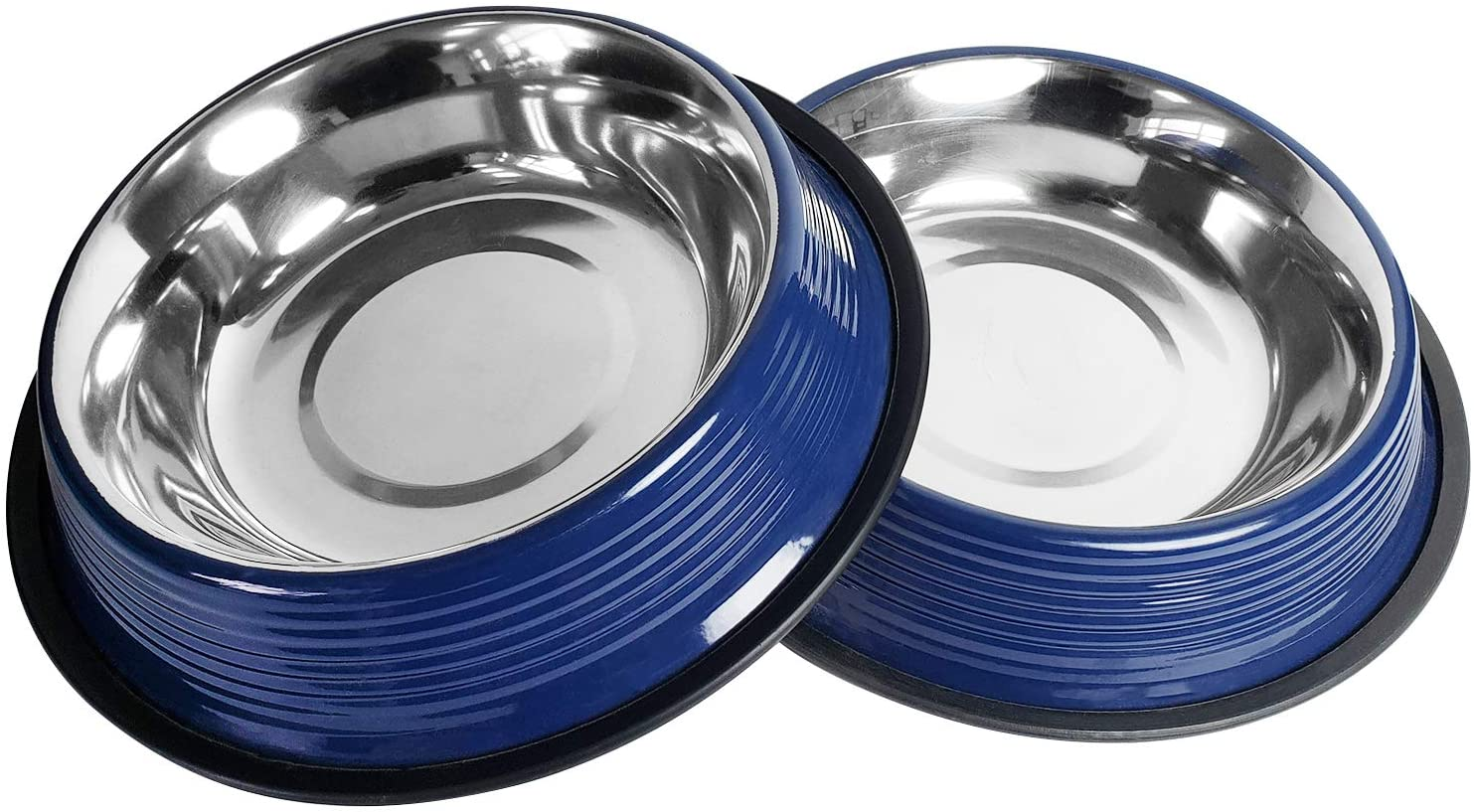 American Pet Supplies Dog Bowls, Set of 2 Non Skid & Non Tip Colored Stainless Steel Bowls for Puppies and Dogs (32 Oz Each, Blue)