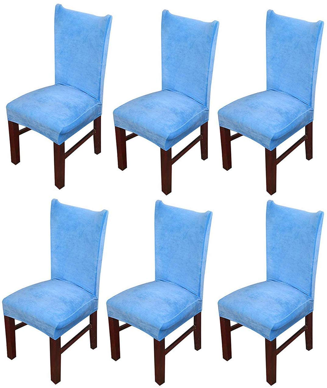 MOCAA Velvet Stretch Dining Room Chair Covers Thick Soft Removable Dining Chair Slipcovers Set of 6 M008 (Sky Blue)
