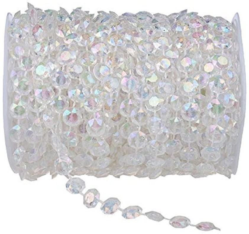 99FT(30M) Acrylic Diamond Garland Strands Crystal Beads Curtain Wedding DIY Party Decor