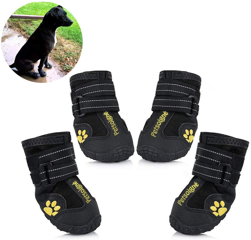 Petsoigné Dog Shoes Waterproof Dog Boots Anti-Skid with Reflective Strap Pet Winter Snow Boots Paws Protector for Small, Medium and Large Dogs