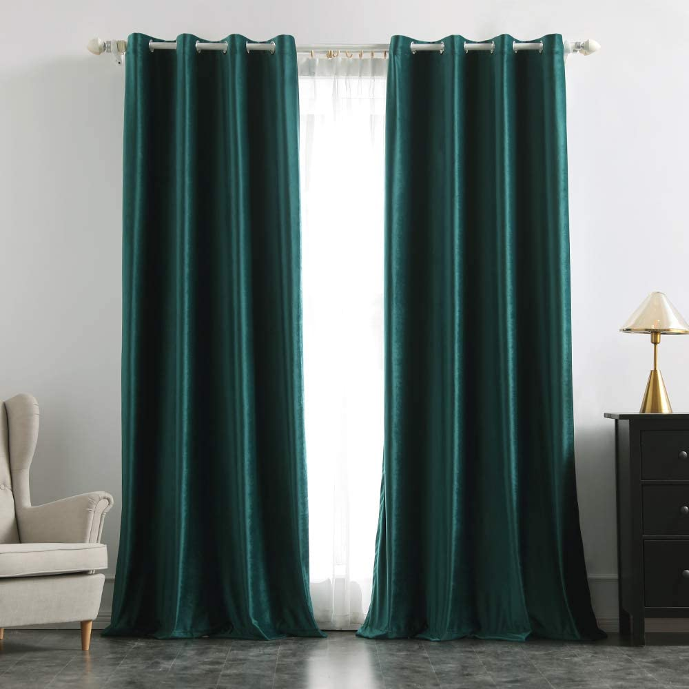 MIULEE 2 Panels Velvet Curtains Room Darkening Blackout Solid Soft Grommet Curtains Thermal Insulated Soundproof Curtains/Drapes/Panels for Living Room Bedroom 52 x 90 Inch Dark Green(Teal)