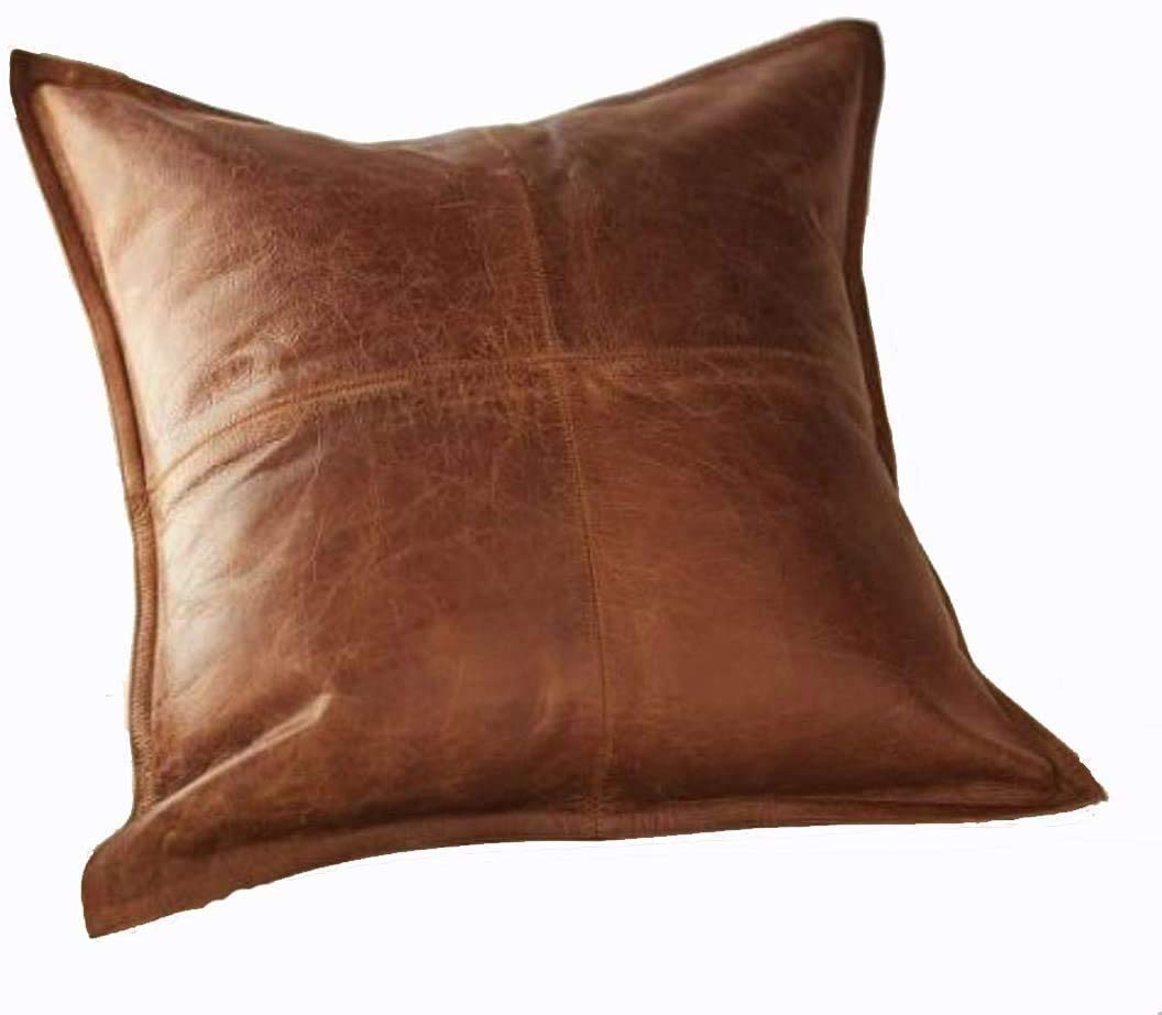 PRASTARA 100% Lambskin Leather Pillow Cover - Sofa Cushion Case - Decorative Throw Covers for Living Room & Bedroom -88 Inches - Antique Brown Pack of 1 (Light Brown) (88)