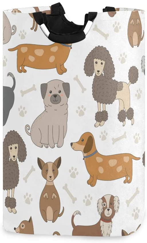 YYZZH Dog Cartoon Dachshund Poodle French Bulldog Bull Terrier Bone Paw Print Large Laundry Bag Basket Shopping Bag Collapsible Polyester Laundry Hamper Foldable Clothes Bag Folding Washing Bin