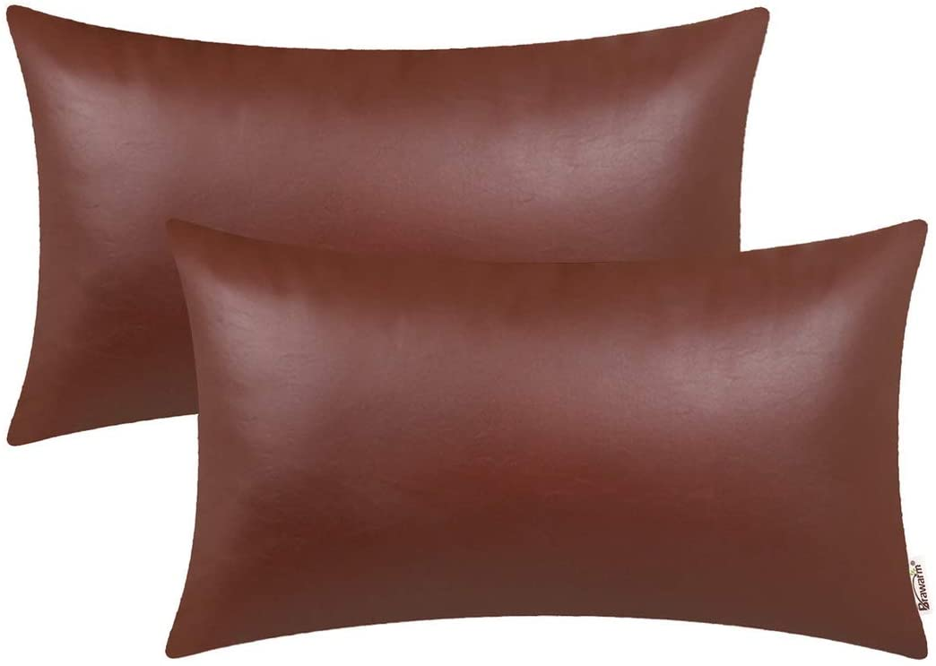 BRAWARM Pack of 2 Cozy Bolster Pillow Covers Cases for Couch Sofa Home Decoration Solid Dyed Soft Faux Leather Both Sides 12 X 20 Inches Light Brown