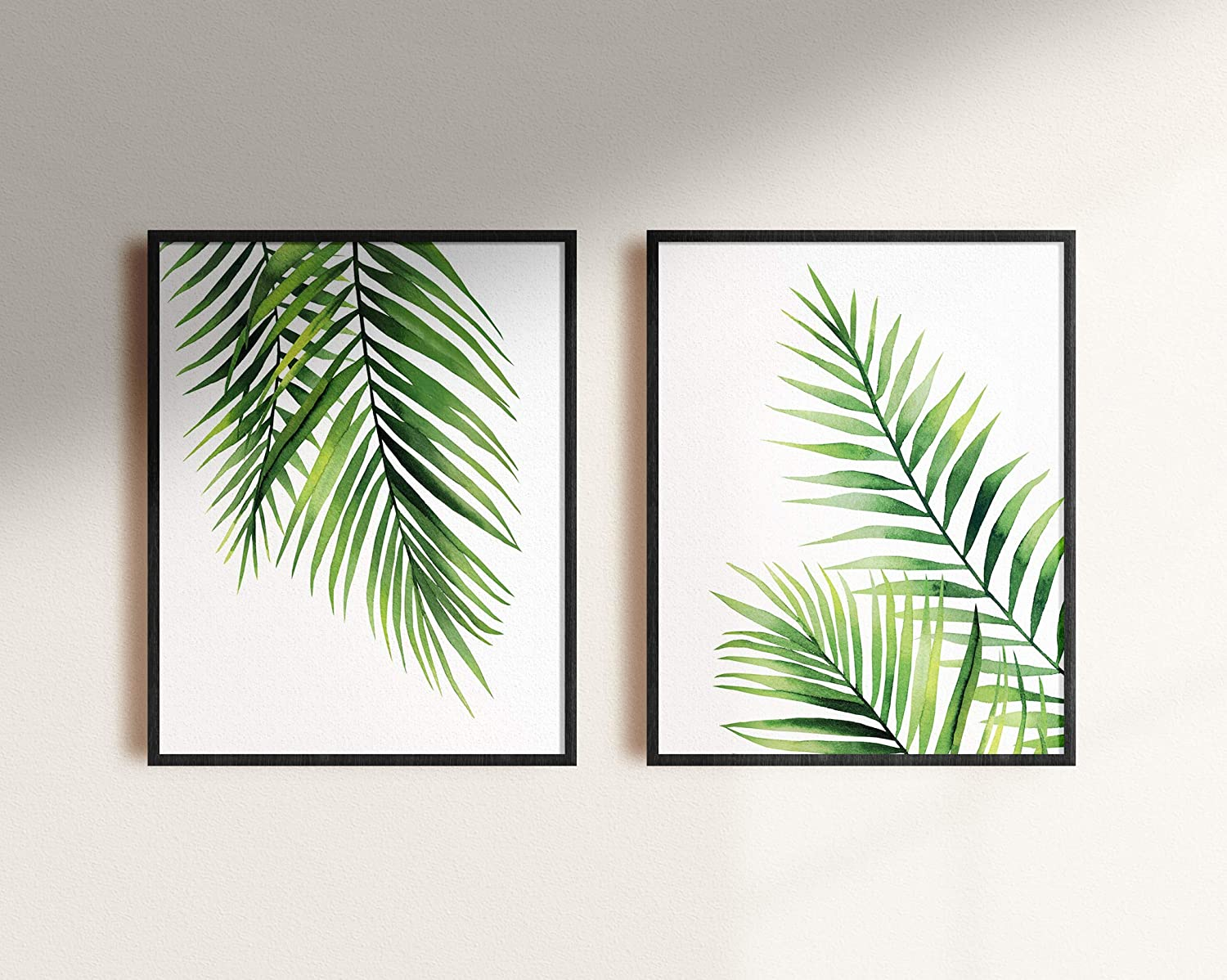 Palm Tree Leaves Poster Combo, Two Posters, 11 by 17 inches, Home Decor, Relaxing Art - Premium Matte Print by Inkvo