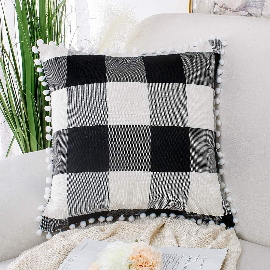 PiccoCasa Buffalo Check Plaid Throw Pillow Covers with Pom-poms, Classic Retro Plaid Cushion Covers, Decorative Sofa Pillow Covers for Home Decor, 18 x 18 Inch, Black Beige White