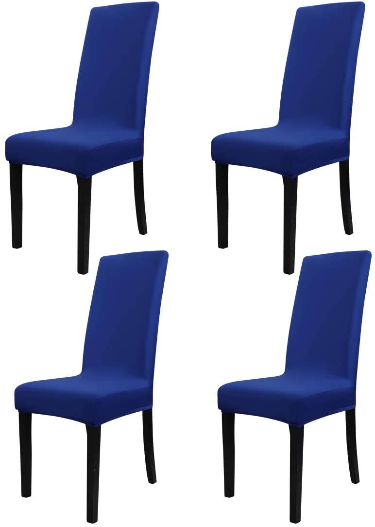 PiccoCasa 4Pcs Stretch Dining Room Chair Covers Removable Washable Anti-dust Seat Slipcover, Protector for Hotel,Office,Ceremony,Banquet Wedding Party Royal Blue