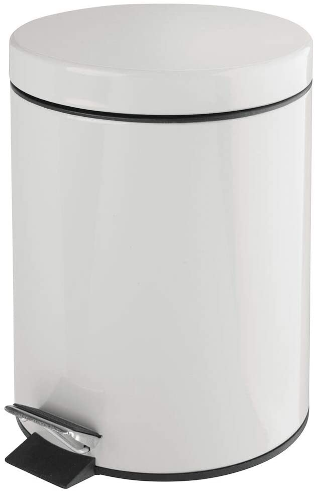 mDesign 5 Liter Round Small Metal Step Trash Can Wastebasket, Garbage Container Bin - for Bathroom, Powder Room, Bedroom, Kitchen, Craft Room, Office - Removable Liner Bucket - Light Gray