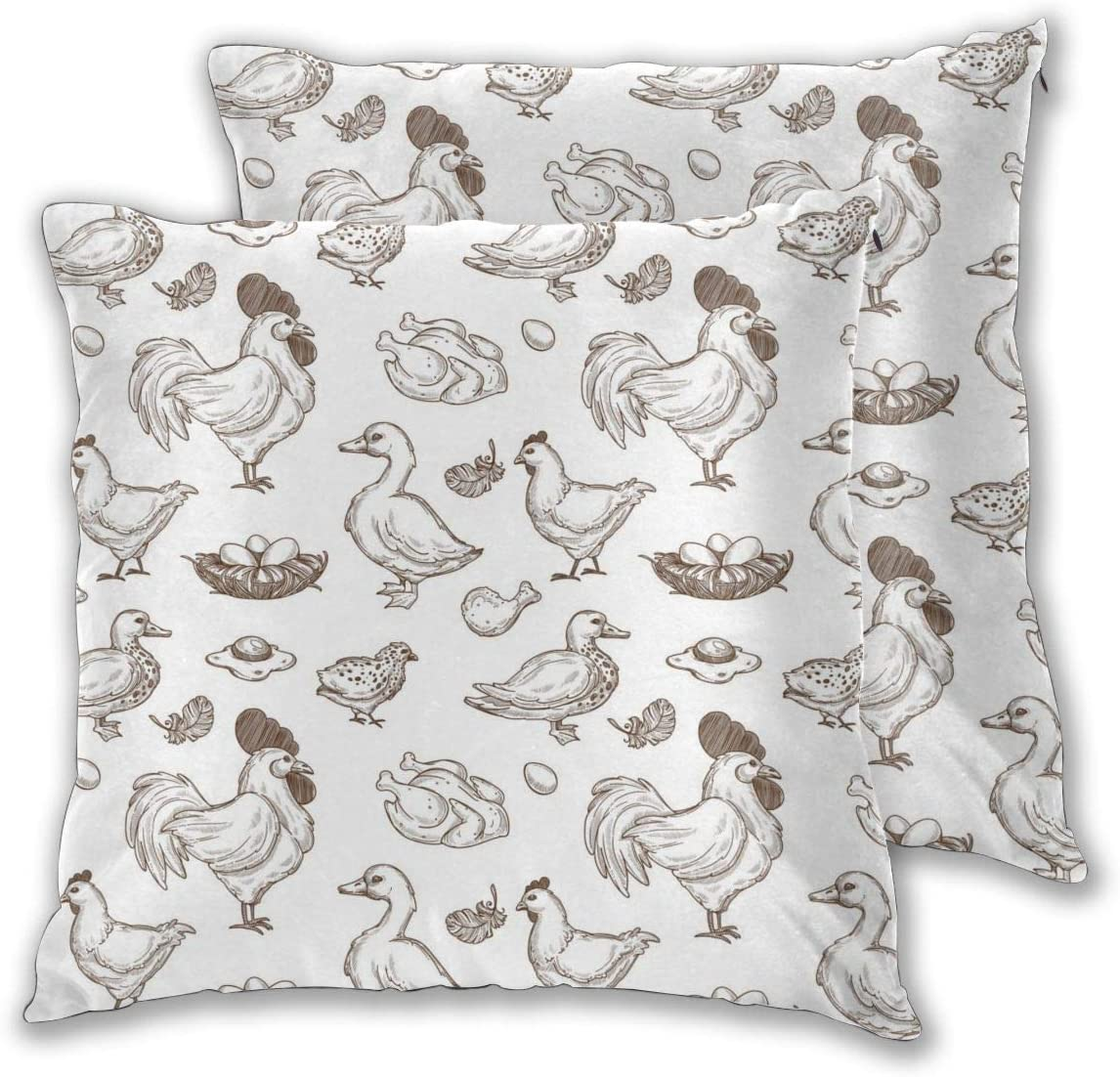 D-WOLVES Farm Chicken and Duck Sketch Set of 2 Throw Pillow Covers, Farmhouse Pillow Cases, Fall Decorative Couch Cover for Cushion Sofa Bedroom Car Chair, 22 X 22 Inch