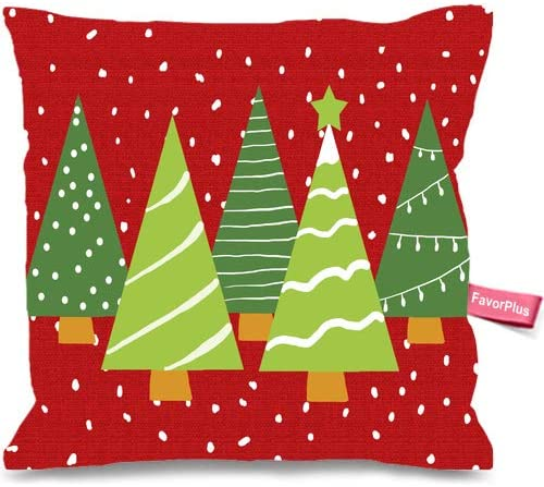 Pillowcase Red with Christmas Tree Pillow Cases Square Cushion Cover Design Bedroom Sofa Couch Pillow Sham 12X12 Inches