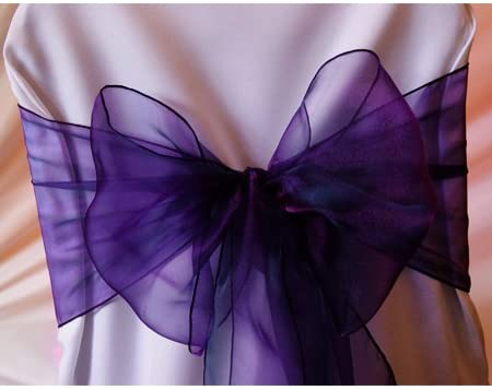 mds 100 PCS Organza Chair Sashes Bow Wedding and Events Supplies Party Decoration - Cadbury Purple