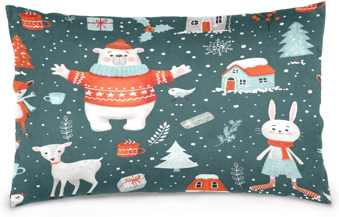 OPRINT Merry Christmas Bear Rabbit Deer Fox Cotton Lint Pillow Case,Cover with Zipper Pillowcase Twice Sides Printing Size 20
