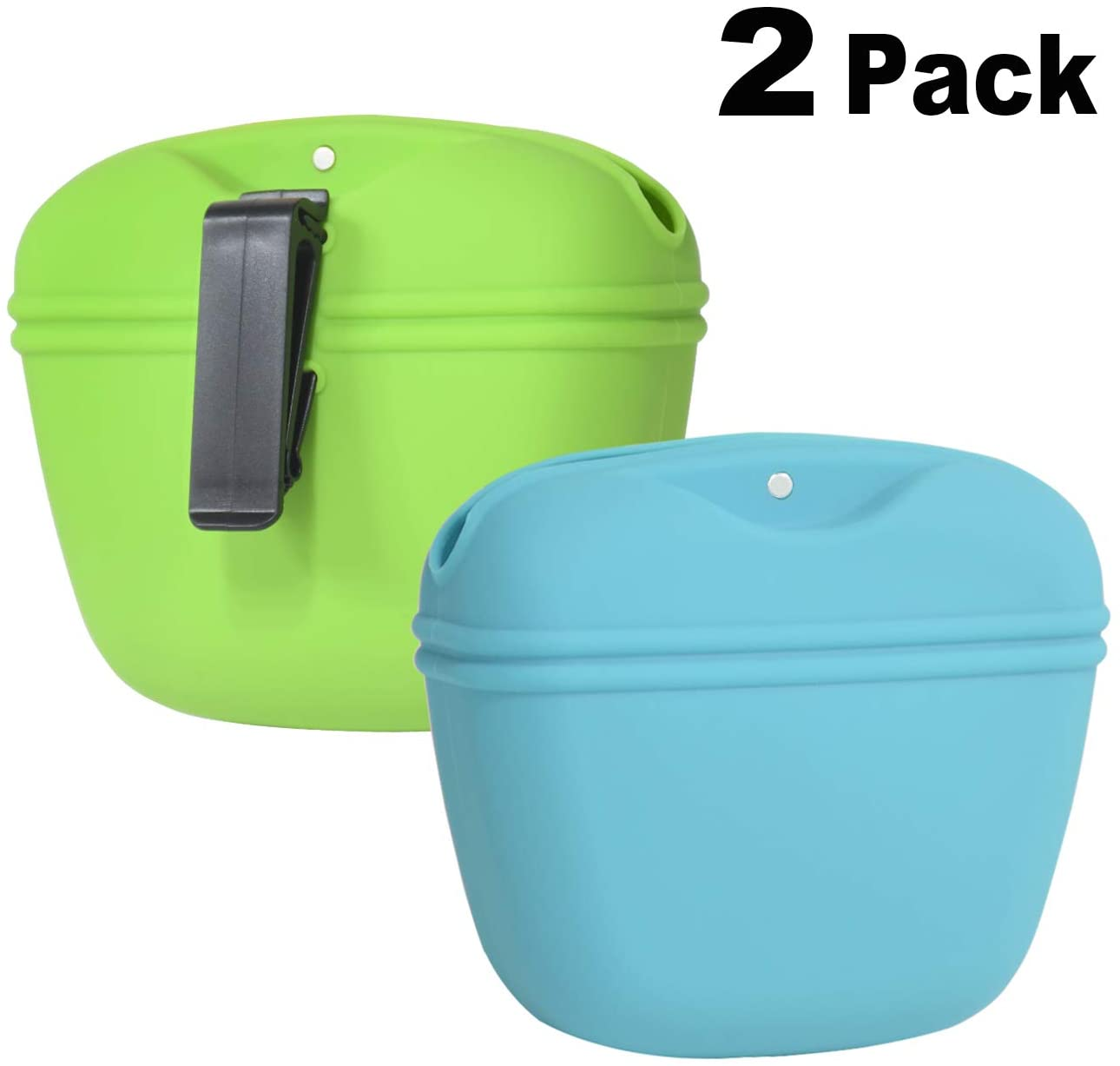 Changeary Silicone Dog Treat Pouch(2pcs) - Portable Small Training Bag with Magnetic Closure and Waist Clip (Can Hold Kinds of Wet Food)- BPA Free