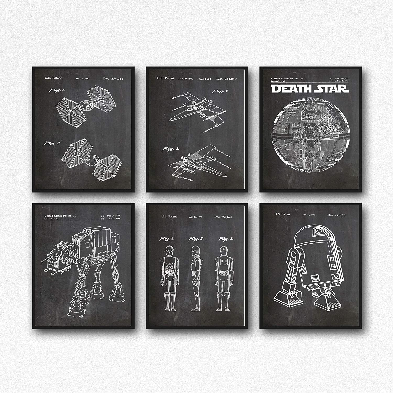 Star Wars Prints Star Wars Prints Set of 6 Star Wars Patent Prints WB121 (50cm x 70cm, Chalkboard Black)