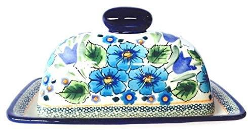 Handmade Traditional Stoneware Butter Dish (Poland) Blue Green Ceramic 2 Piece