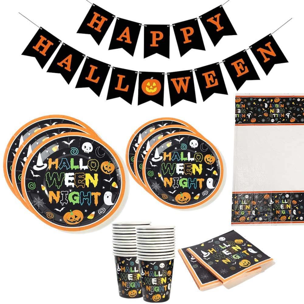 Halloween Night Party pack (Serves 16) Dinner and dessert plates, cups, napkins, tablecover, and banner