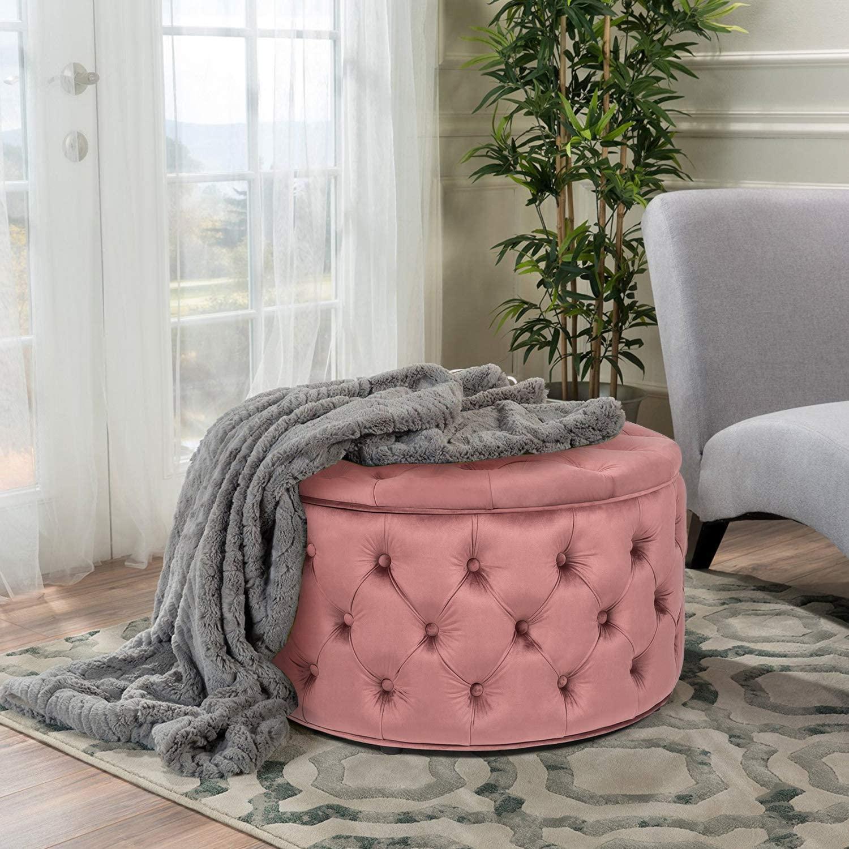 Homebeez Round Velvet Storage Ottoman, Button Tufted Footrest Stool Coffee Table (Coral)