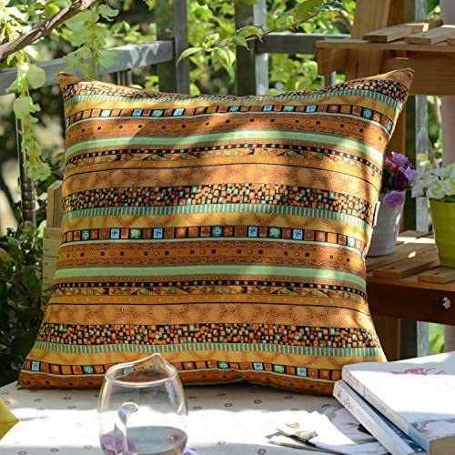 TAOSON Gold Stripe Bohemian Style Antique Cotton Blend Linen Sofa Throw Pillowcase Cushion Cover Pillow Cover with Hidden Zipper Closure Only Cover No Insert 20x20 Inch 50x50cm