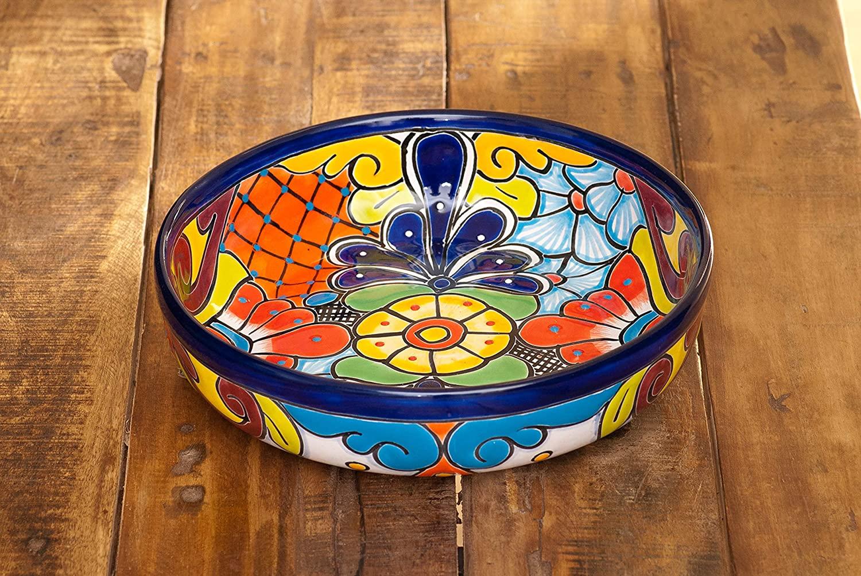 Jayde N Grey Talavera Pottery Hand Painted Ceramic Large Serving Bowl Salad Bowl Chip Bowl Serving Platter Colorful (Cobalt)