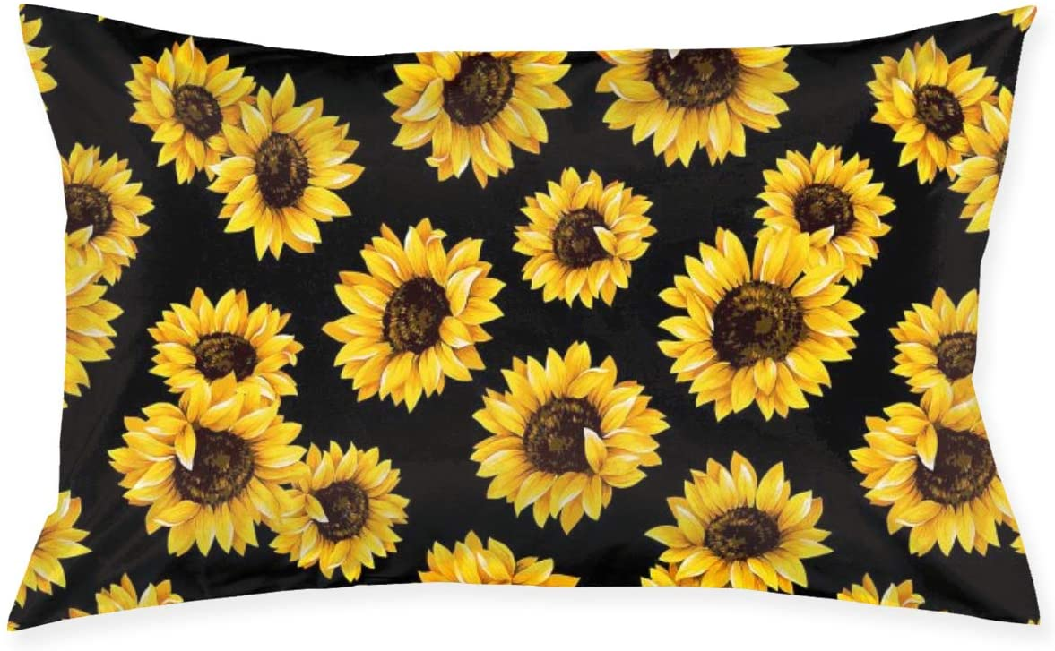 TNIJWMG Throw Pillow Case Hipster Golden Sunflowers with Zipper for Home Sofa Decorative Pillow Cover Case Queen Size 20x30 Inch (Twin Sides)