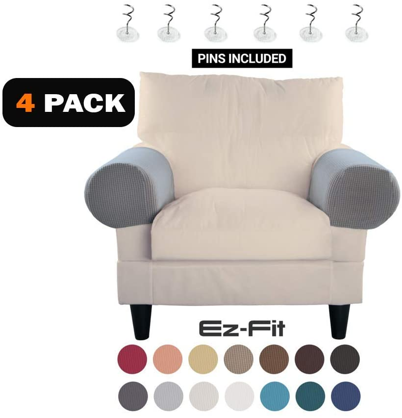 EZ-FIT 2 Pairs of Anti-Slip Spandex Stretch Fabric Sofa Armrest Cover Set Slipcover,Armchair,Couch Protector for Upholstered Furniture Fitted Jacquard Design Material |Strapless with Free PINS (Gray)