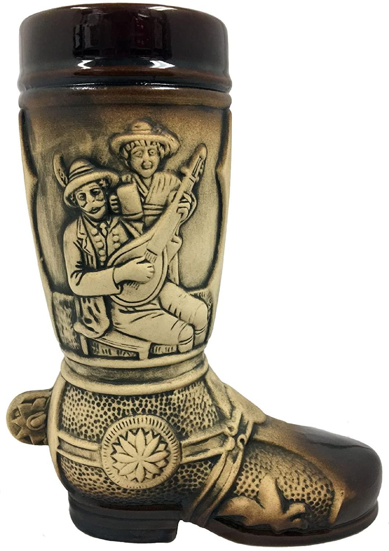 Drinking Scenes Brown Relief German Beer Stein Boot .5 L Made in Germany