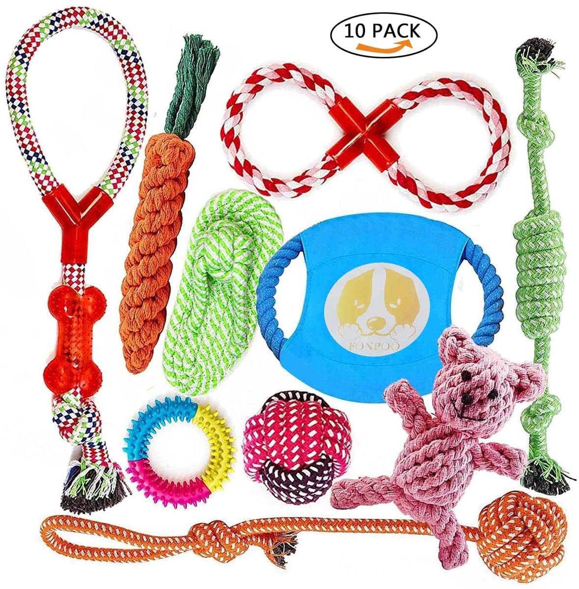 Angelland Dog Rope Toy Chew Toys Teething Puppy Small Dog Teeth Cleaning Tug Toy Rubber Bone Durable Dogs Toy Gift Sets