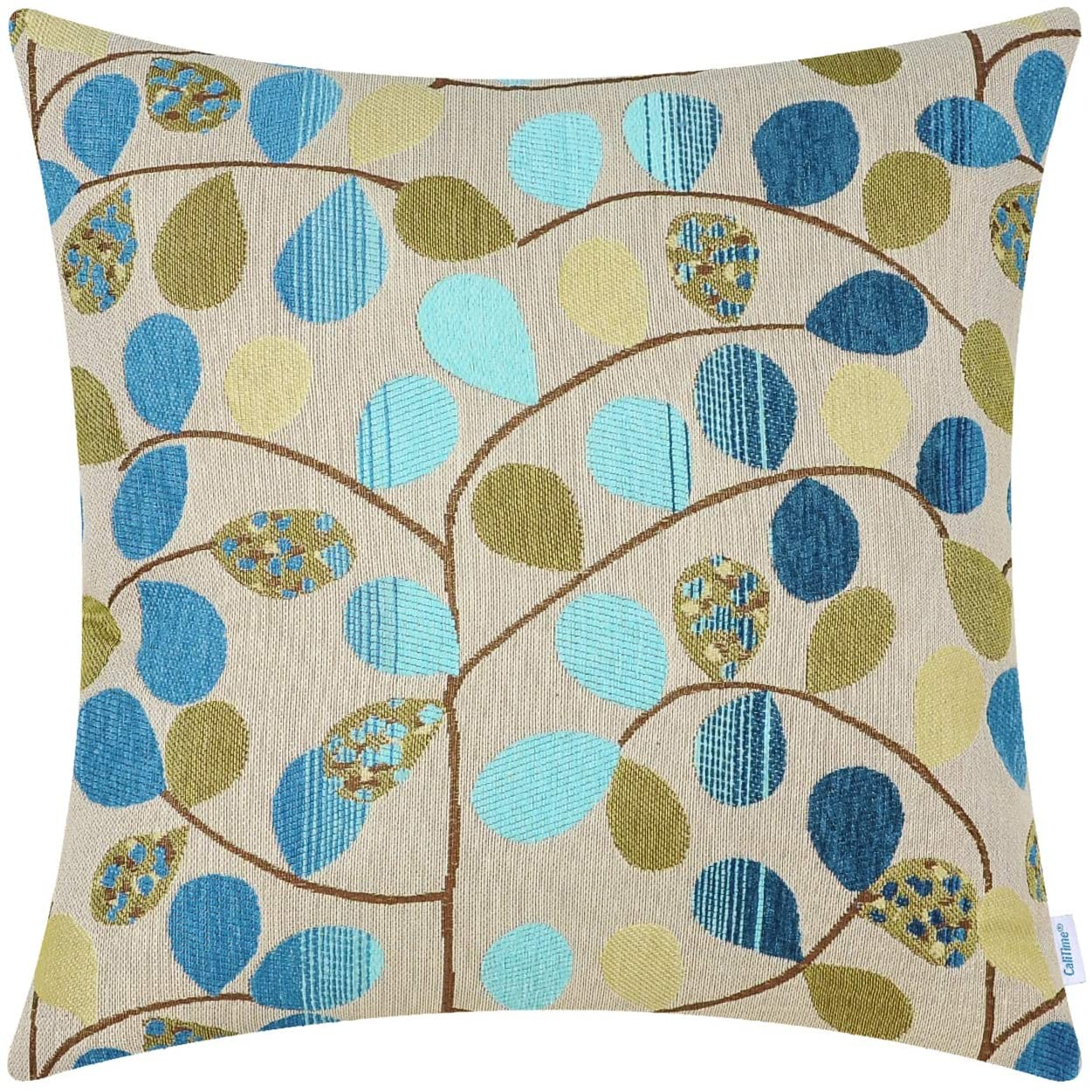 CaliTime Cushion Cover Throw Pillow Case Shell for Couch Sofa Home Decoration Luxury Chenille Cute Leaves Both Sides 20 X 20 Inches Ecru Blue