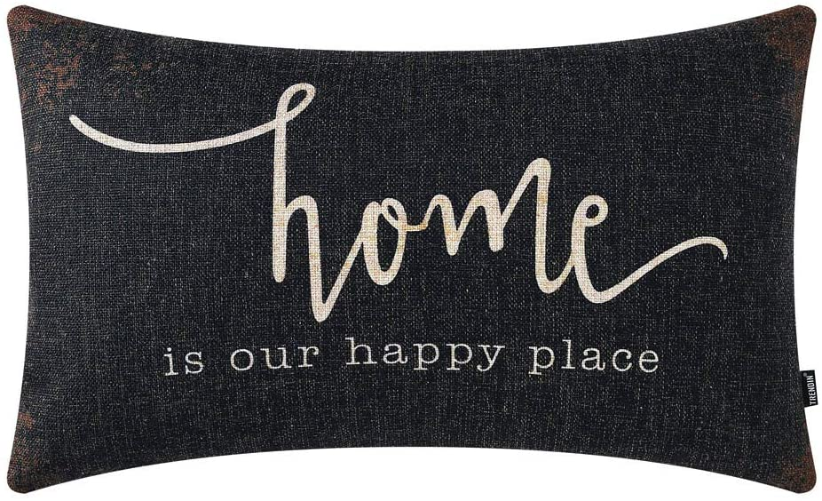 TRENDIN Farmhouse Pillow Covers 20x12 Inch Rusted Black Home is Our Happy Place Quotes Farmhouse Decor Housewarming Gifts Rectangular Decorative Cushion Cover PL571TR