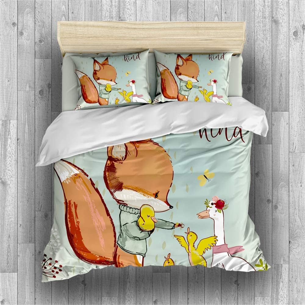 Earendel Cartoon Fox Theme Duvet Cover Set Lovely Bedding Little Prince Bed Sets 2/3/4PCS Colorful Quilt Covers/Sheets/Pillowcases,Twin/Full/Queen/King Size (4,Twin-172x218cm-4PCS)
