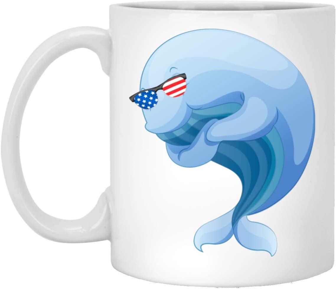 Funny Whale 1 With American Flag Sunglasses White Coffee Mug 11oz