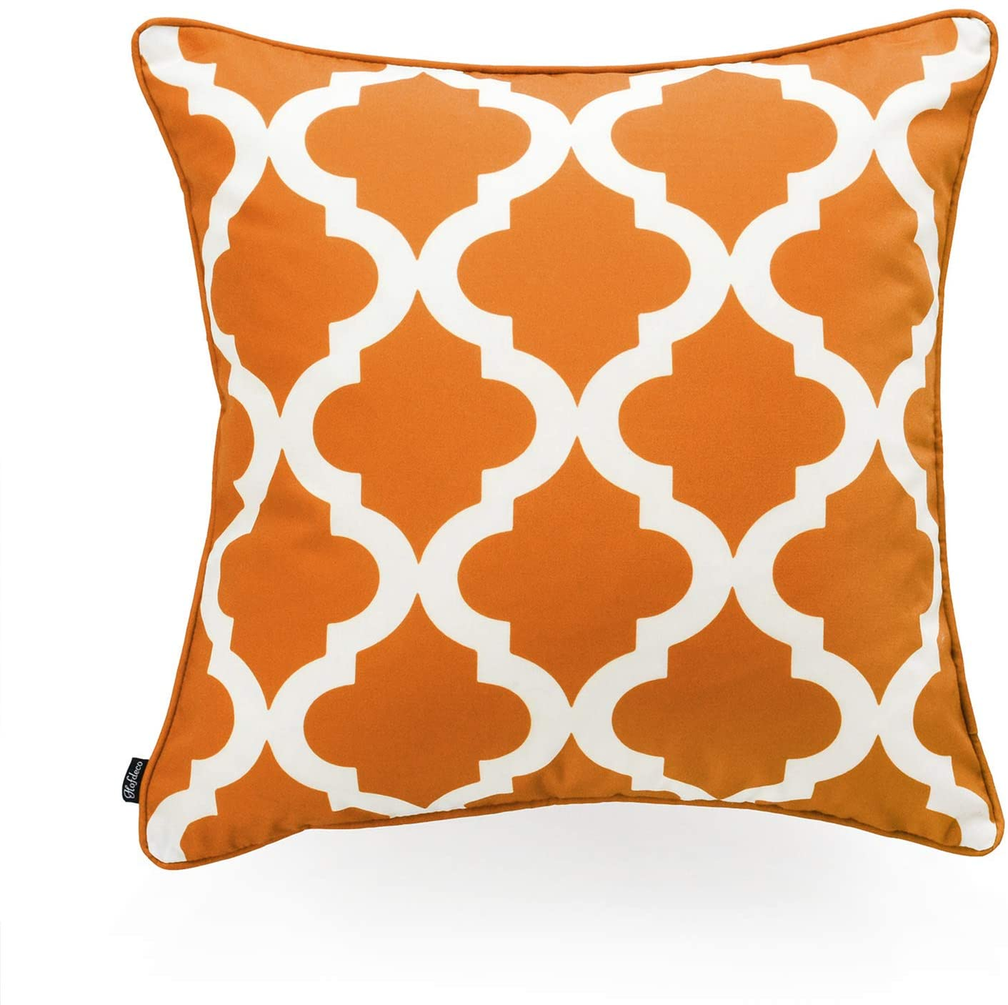 Hofdeco Indoor Outdoor Pillow Cover ONLY, Water Resistant for Patio Lounge Sofa, Fall Orange White Moroccan Quatrefoil, 18