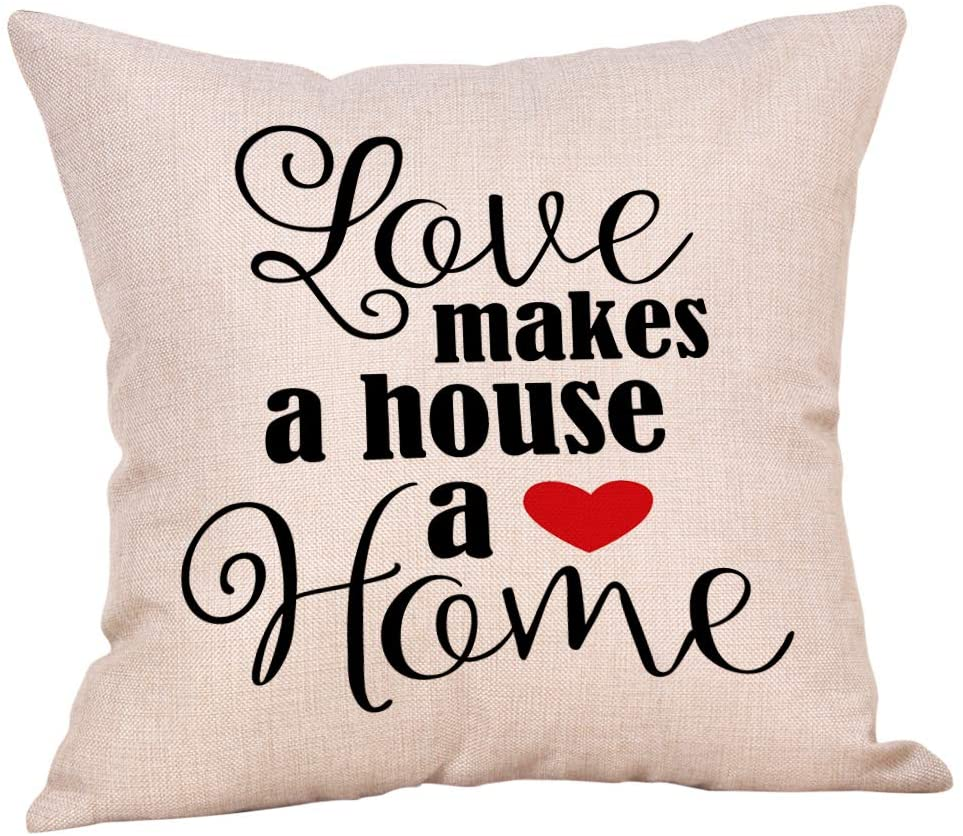 Softxpp Rustic Valentine's Day Sign Love Makes a House a Home with Red Heart Throw Pillow Cover Farmhouse Decor Lover Gift Cushion Case Decorative for Sofa Couch 18