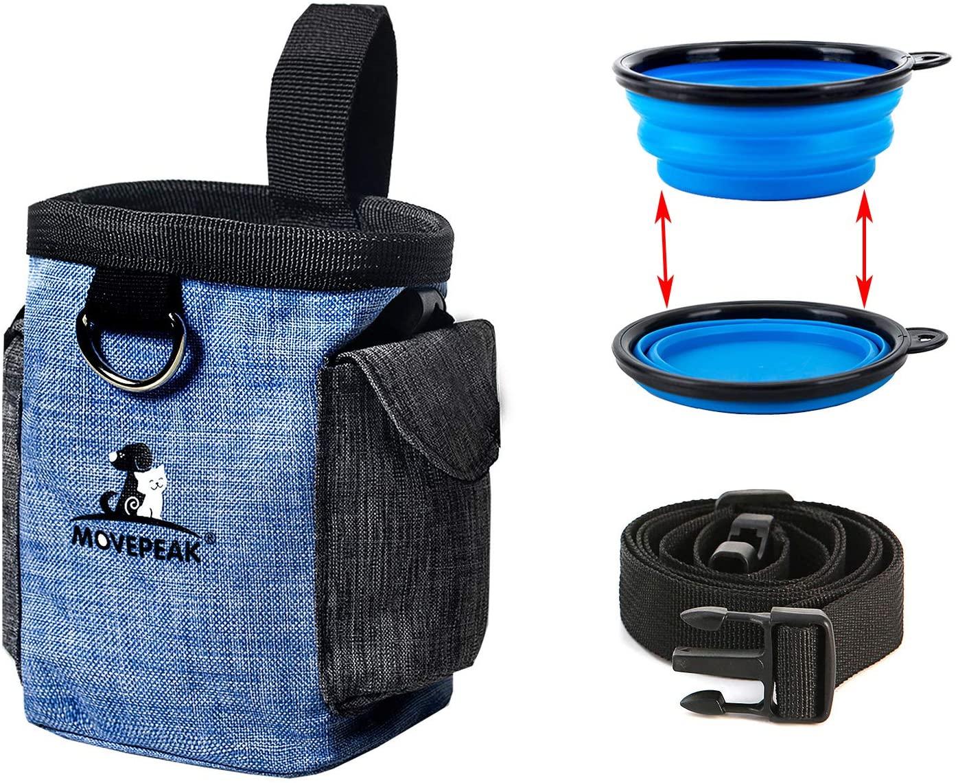 ZffXH Dog Treat Pouch Bag with Collapsible Bowl, Waist Shoulder Strap andPoop Bag Dispenser