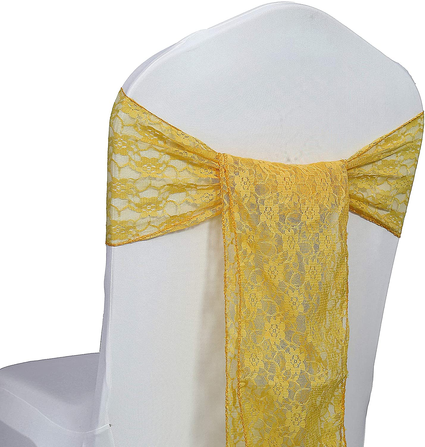 mds Pack of 10 Lace Chair Bow Sashes sash for Wedding or Events Party Supplies Chair lace sash - Gold