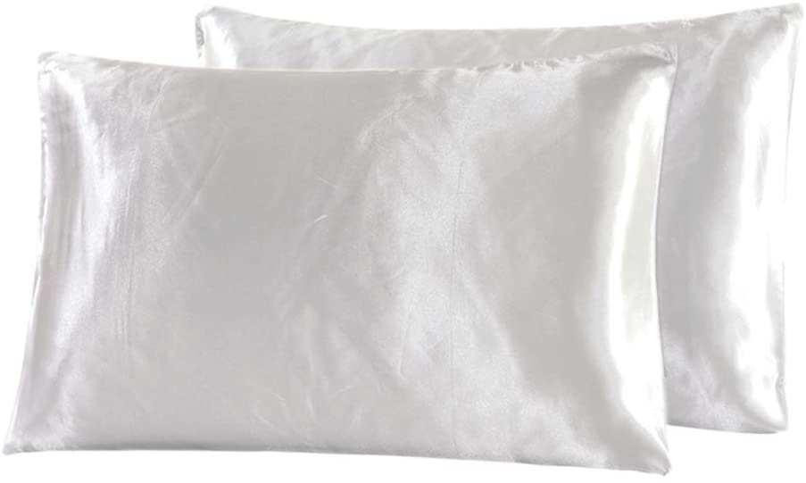 Satin Pillowcase for Hair and Skin-100% Microfiber Satin Pillowcases Standard with Envelope Closure for Silk Sleep,Reduce Hair Breakage&Wrinkle Resistant,2 Pack Pillow Covers for Easy Care,Ivory White