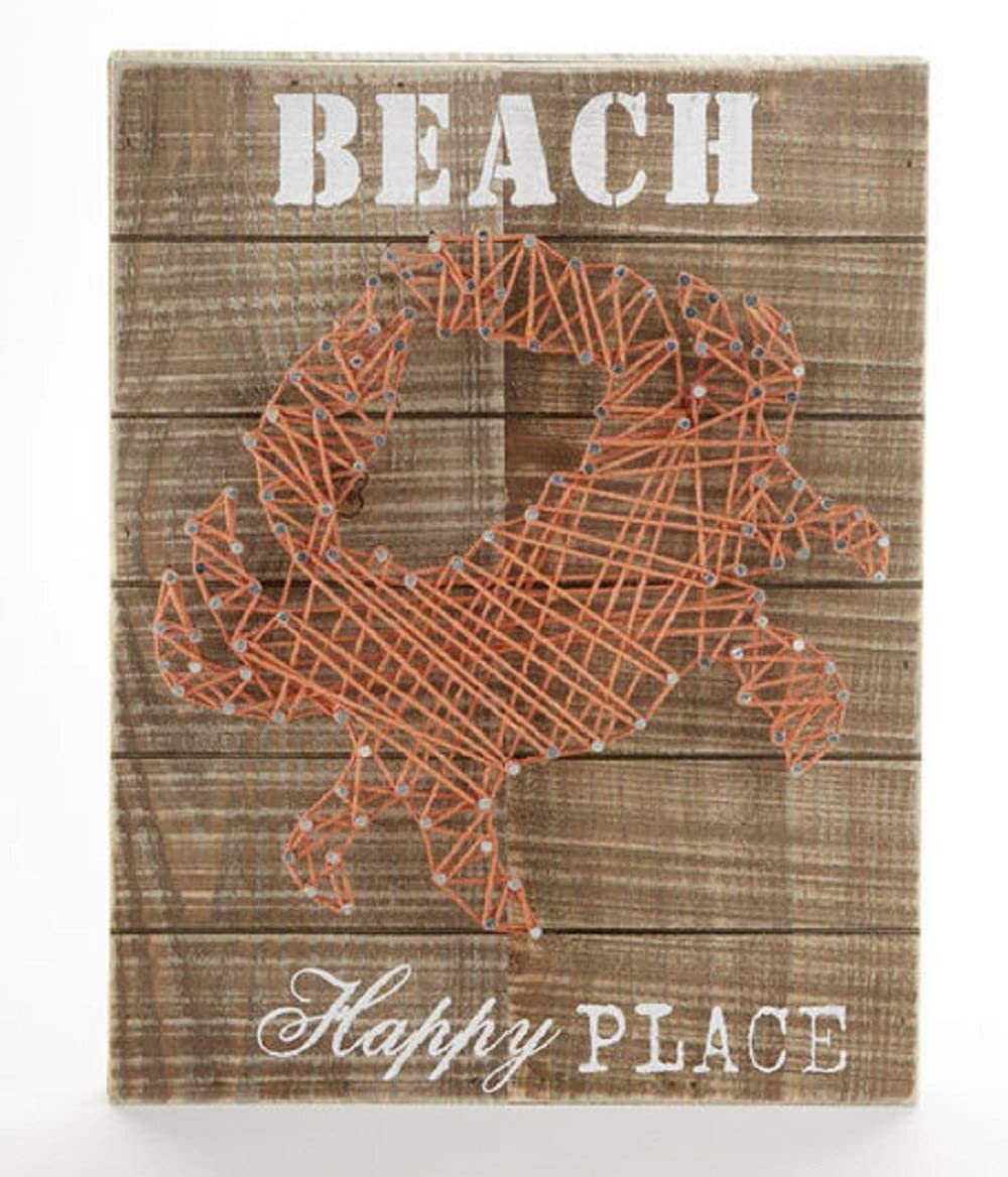 Delton Products 9.9 Inches x 12.6 Inches Wood Crab String Art Home Decor