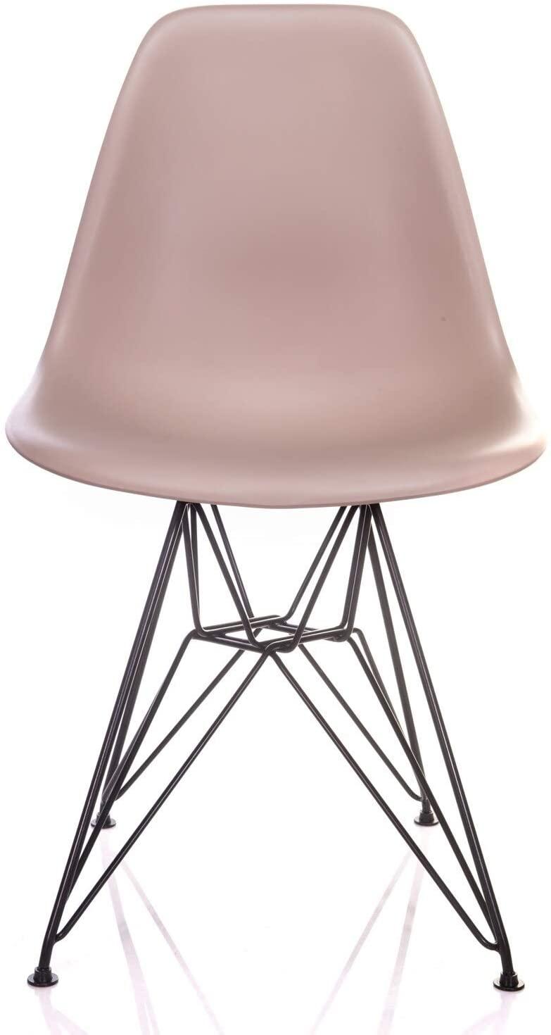 Overstock Nature Series Cream Beige DSR Mid-Century Modern Dining Accent Side Chair with Black Eiffel Steel Leg