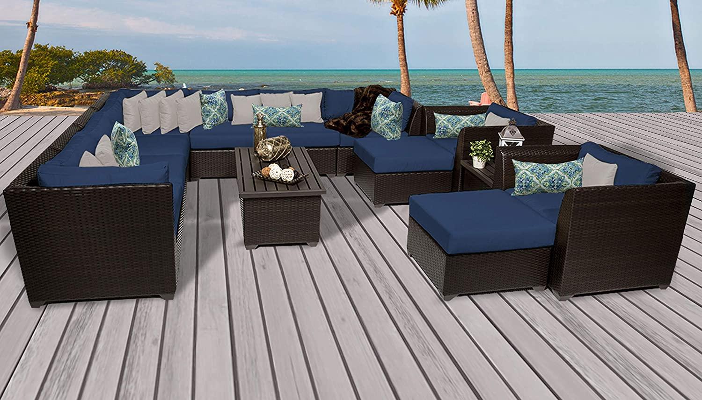 TK Classics Barbados 13 Piece Outdoor Wicker Patio Furniture Set, Navy