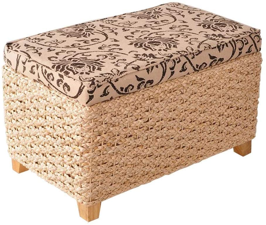 Storage Storage Shoe Bench Stool Grass Rattan Environmental Protection Children's Seat Fashion Solid Wood Chair Fabric Foot Cover HENGXIAO (Color : A)