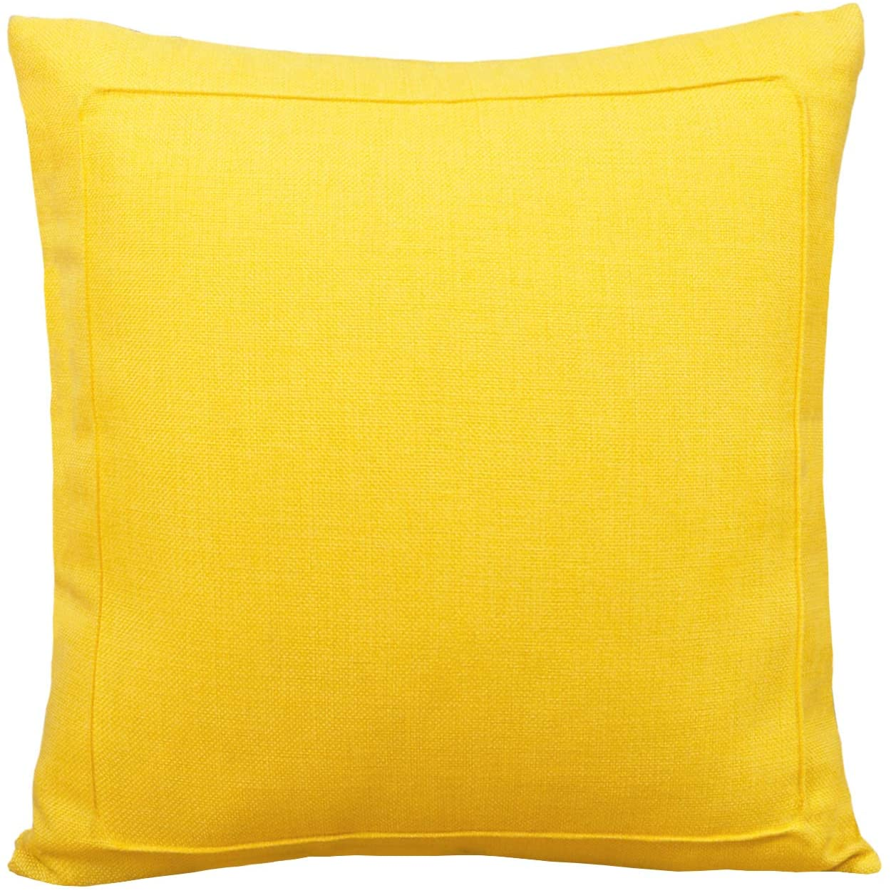Jepeak Burlap Linen Throw Pillow Cover Cushion Case, Farmhouse Modern Decorative Solid Square Pillow Case, Thickened Luxury for Sofa Couch Bed (20 x 20 Inches, Bright Mustard Yellow)