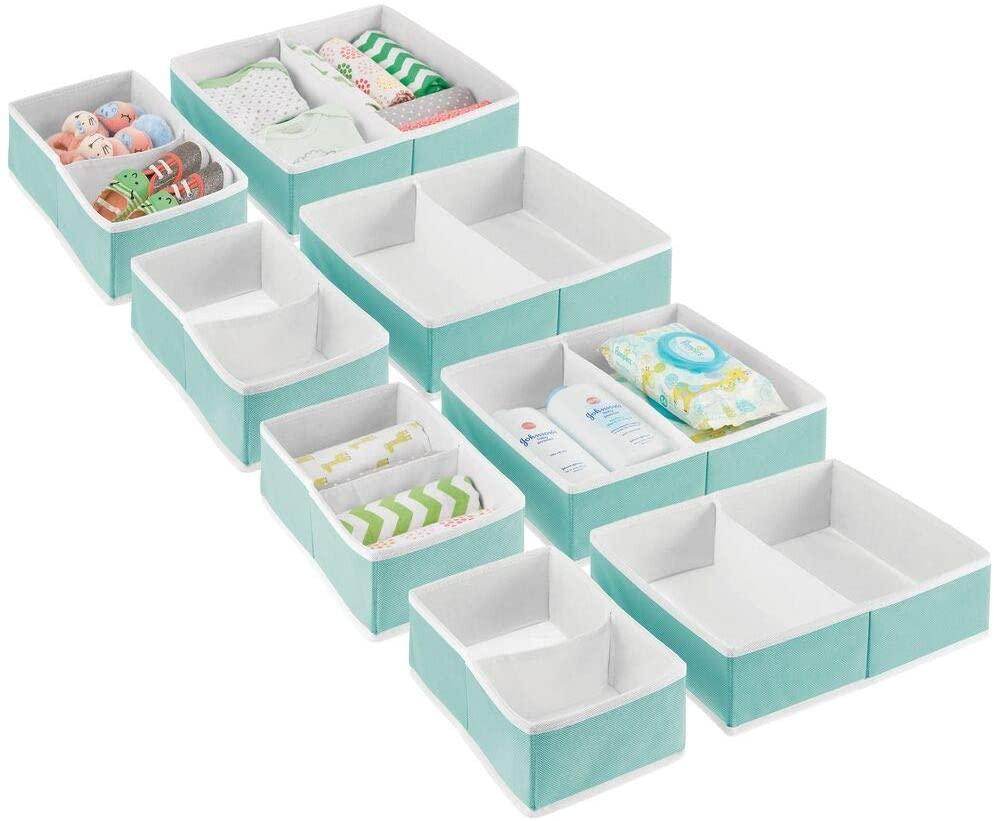 mDesign Soft Fabric Dresser Drawer and Closet Storage Organizer Set for Child/Kids Room, Nursery, Playroom, Bedroom - Rectangular Organizer Bins - Set of 8 - Turquoise/White